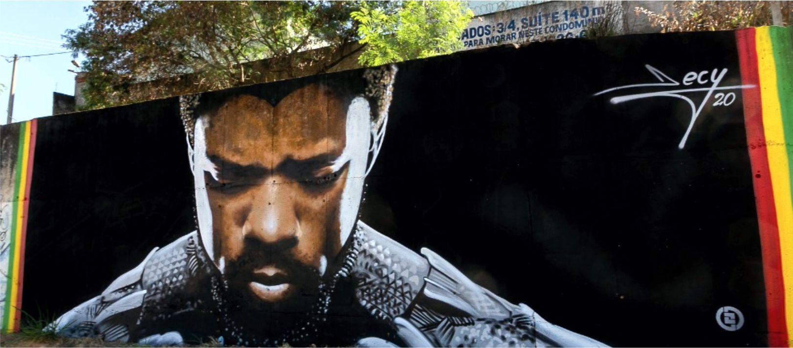 """Wakanda Forever"": Grafiteiro de Goiânia eterniza Chadwick Boseman, ator de Pantera Negra, no Brasil"